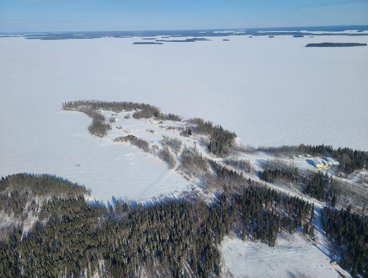 Aerial view of Granville Lake, Man.