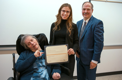 LORI FASANO (L) AND HUSBAND DAVE WITH THE FIRST RECIPIENT OF THE LORI FASANO SCHOLARSHIP, SABINA OZOG.