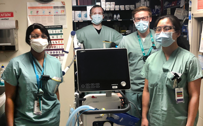 L TO R: UM RESPIRATORY THERAPY ALUMNI KESSIAH LAWRENCE, SCOTT COLEY, LUKE BOUCHER AND JESSICA FANG AT ST. BONIFACE HOSPITAL