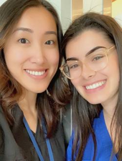 Dentistry students Rita Wang (first year) and Niki Bueti (second year)