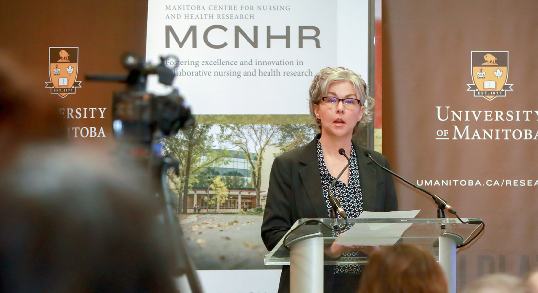 Dr. Kellie Thiessen speaks at a funding announcement at the College of Nursing in 2019.