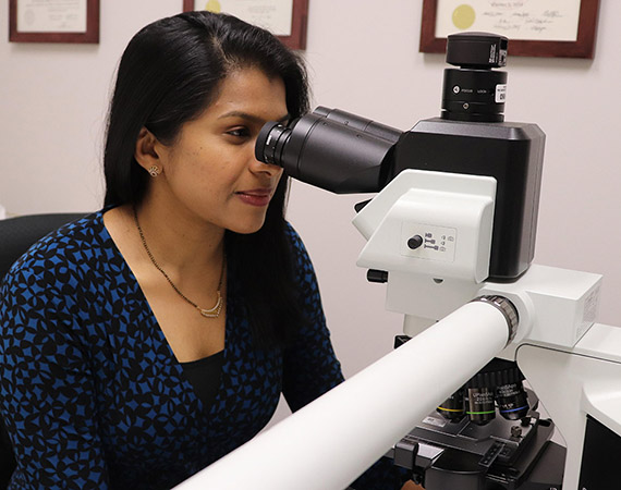 Dr. Vimi Mutalik peers intently into the large microscope on her office desk.